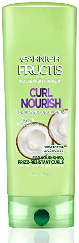 Garnier Fructis Curl Nourish Paraben-free Conditioner Infused with Coconut Oil and Glycerin, System for 24 Hour Frizz-Resistant Curls, 12 fl. oz., Packaging May Vary
