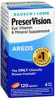 PreserVision Eye Vitamin and Mineral Supplement, AREDS - 120 Tablets, Pack of 6 by Bausch & Lomb