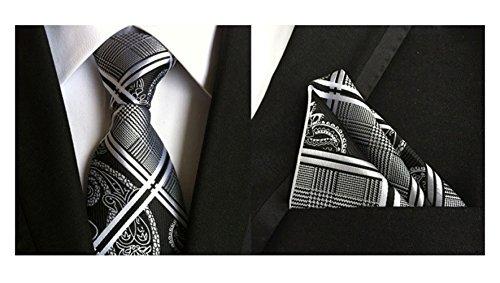 MENDENG Men's Silver Black Paisley Stripe Plaid Silk Tie Necktie Hanky 2 Pcs Set