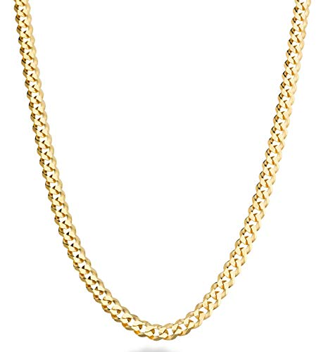 Miabella Solid 18K Gold Over Sterling Silver Italian 5mm Diamond-Cut Cuban Link Curb Chain Necklace for Women Men, 16, 18, 20, 22, 24, 26, 30 Inch 925 Sterling Silver Made in Italy (24)