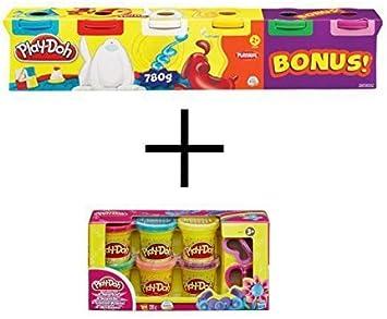 Play-Doh Colores Plastilina Set - 23565148 Playdoh 6 Pack Colores básicos y A5417EU4 play-Doh Masa con brillantina: Amazon.es: Juguetes y juegos