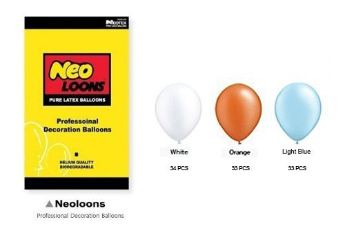 Neo LOONS 10 inch Pearl White & Orange & Light Blue Premium Latex Balloons for Birthdays Weddings Receptions Baby Showers Decorations, Pack of 100 -