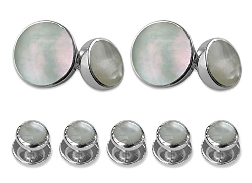 Sterling silver mother of pearl double-sided Cufflinks Shirt Dress Studs Gift Set by Select Gifts