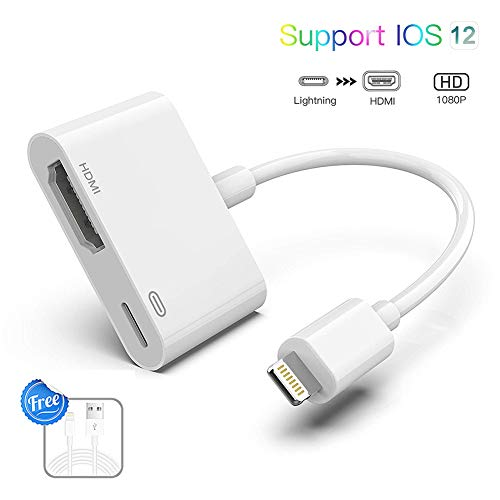 Lighting to HDMI Adapter Lighting Digital AV Adapter 1080P with Lighting  Charging Port for Select iPhone iPad and iPod Models and HDTV Monitor