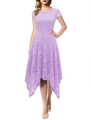 AONOUR AR8009 Women's Floral Lace Cap Sleeve Handkerchief Hem Cocktail Party Swing Dress Lavender 2XL
