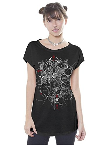 Womens Graphic Black T-Shirt Ganesh Elephant Headed God Print Geometric M Top