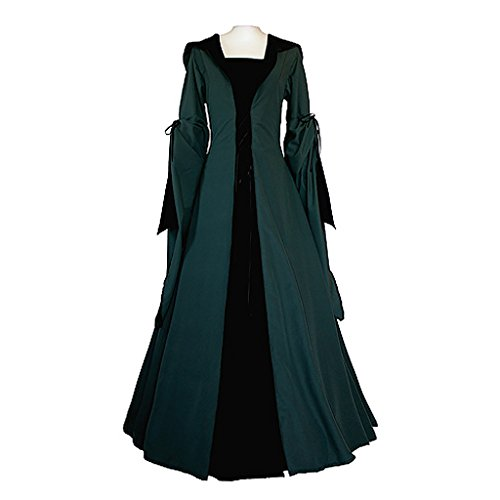 CosplayDiy Women's Dark Green Black Medieval Renaissance Victorian Dress S (2)