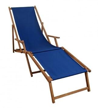 Liegestuhl Mit Fußteil.Liegestuhl Blau Sonnenliege Fußteil Gartenliege Holz Deckchair Strandstuhl Gartenmöbel 10 307f