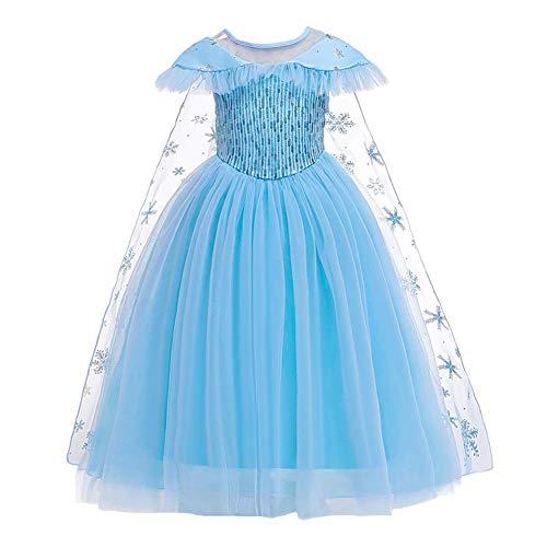 OBEEII Meisjes Frozen Fancy Jurk met Verwijderbare Mantel Prinses Elsa Anna Carnaval Kostuum Sneeuw Koningin Cosplay…