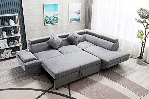 Sectional Sofa Sleeper Sofa Bed Futon Sofa Bed Sofas for Living Room Furniture Set Modern Sofa Set Corner Sofa Fabric Contemporary Upholstered (Corner Sofa R, Grey)