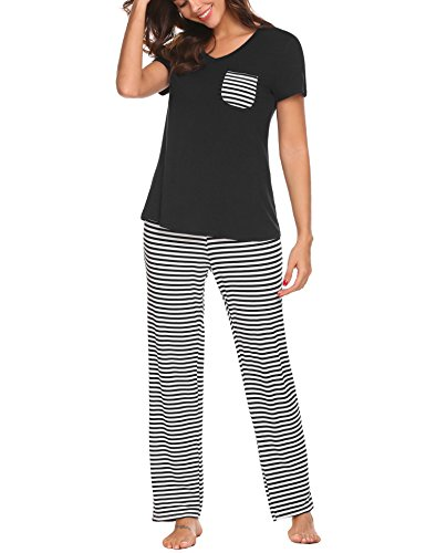 (Hotouch Soft V-Neck Pullover Women's Pajama Set with Long Pants Black XXL)