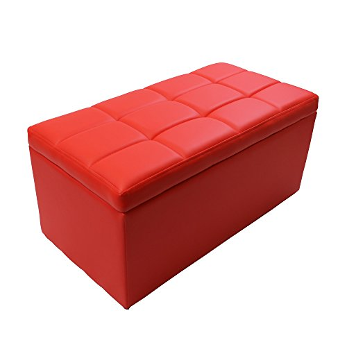 - Magshion Unfold Leather Storage Ottoman Bench Footstool Cocktail Seat Coffee End Table, Rectangle, Red