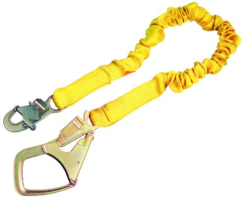 3M DBI-SALA ShockWave2 1244360 Shock Absorbing Lanyard, 6' Single-Leg with Elastic Web and Snap Hook At One End, Saflok-Max Steel Rebar Hook At Other End, Yellow