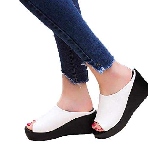 (Dasuy Women's Fish Mouth Platform Wedge Sandals Chunky High Heels Shoes Women Open Toe Slippers Pumps (US:7.5, White) )