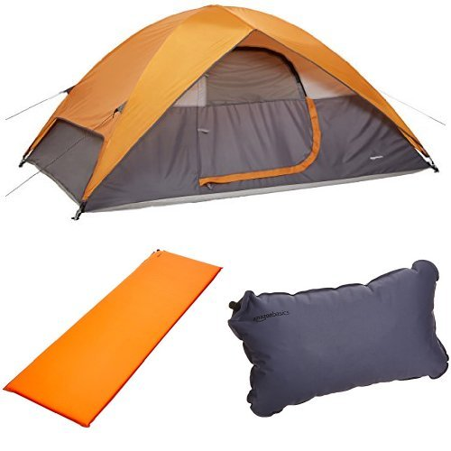 AmazonBasics 4-Person Dome Tent, Self-Inflating Air Pad and Self-Inflating Air Pillow Bundle