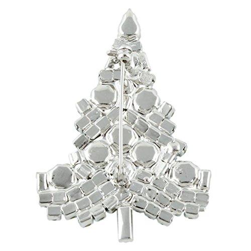 Ever Faith - Broche Arbre de Noël Art Déco Ton-Argent Vert Autrichien Cristal Cadeau A02355-10