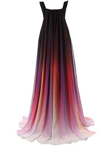JAEDEN Gradient Chiffon Formal Evening Dresses Long Party Prom Gown Black US18W