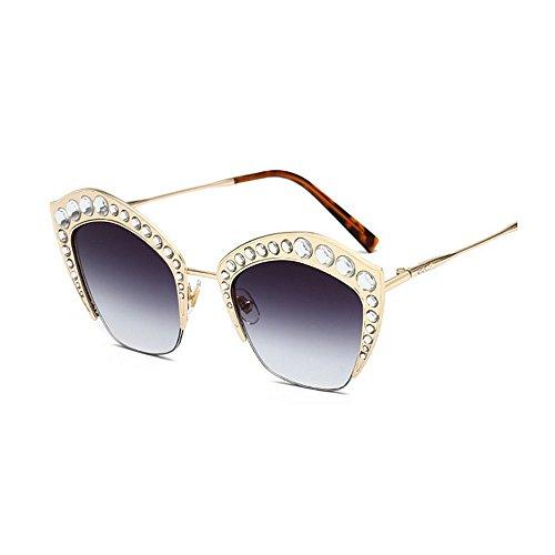 Gafas PC la Marco Eyes Protección Oversized de Gu Lente para Conducir Graceful UV de de Peggy Color Metal Señora Frescas de Cat Crystal de Gafas Grandes Rosado la Sol Beige Sol Viajando 7xBRwwvnZ