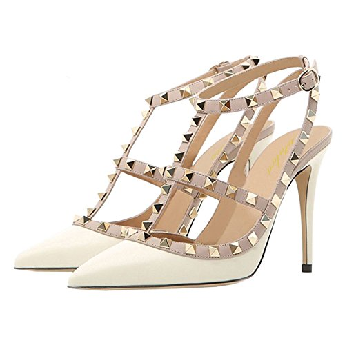 12 Straps Shoes Women Ankle Studded 5 Size Toe 5 Pointed Lutalica Sexy Stiletto White High Heel US Sandals qtZEPFw