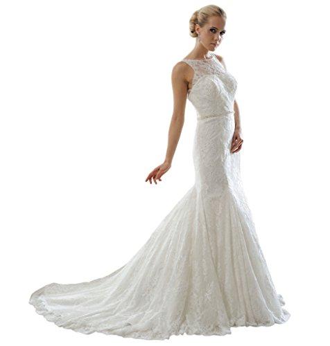 HarveyBridal Deep V-neck Back Mermaid Lace Wedding Dress Ivory