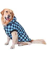 PAWZ Road Dog Plaid Shirt Coat Hoodie Pet Winter Clothes Warm and Soft for Medium and Large Dogs,Upgrade Version Blue L