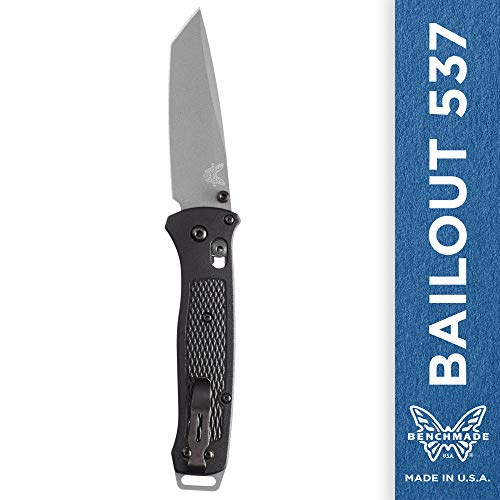 Benchmade - Bailout 537, EDC Tactical Folding Knife, Tanto Blade, Manual Open, Axis Locking Mechanism, Made in USA, Coated, Straight