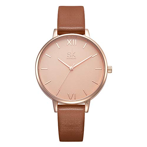 Women Watches Leather Band Luxury Quartz Watches Girls Ladies Wristwatch Relogio Feminino (K0039-Brown)