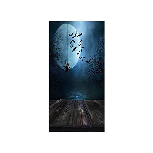 3D Decorative Film Privacy Window Film No Glue,Halloween Decorations,Misty Lake Scene Rusty Wooden Deck Spider Eyeball and Bats Moonlight,Blue Brown,for -