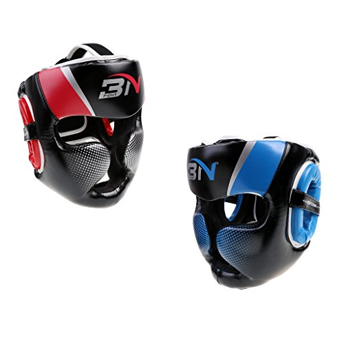 Fenteer 2x PU Boxing Helmet Kickboxing Head Guard Full Coverage Sparring Headgear - Adult by Fenteer