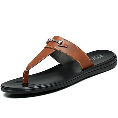 Sandalias de verano zapatos de hombre exterior / oficina / Carrera / Athletic / / vestimenta casual zapatillas cuero Nappa Negro/Blanco/Marrón Blanco