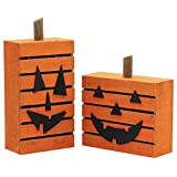 MorTime Pumpkin wooden light Halloween decor 3D wood carving pattern With LED Light, Pack of 2