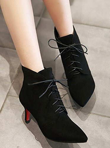 Aisun Womens Dressy Elegant Lace Up Pointed Toe Stiletto Kitten Heels Bridal Party Ankle Boots Booties Black b1kdBFss