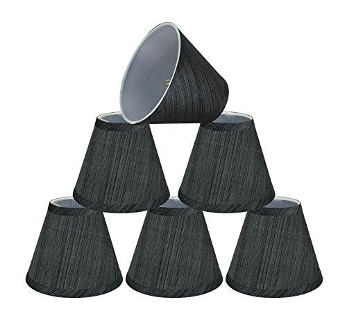 Aspen Creative 32105-6 Small Hardback Empire Shape Chandelier Clip-On Lamp Shade Set (6 Pack), Transitional Design in Grey & Black, 6