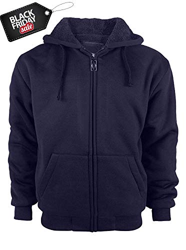 Man Lighting - GEEK LIGHTING Mens Full Zip Outdoor Warm Thick Fleece Hoodie Jacket Navy X-Large