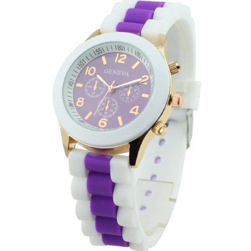 Women's Geneva Silicone Band Jelly Gel Quartz Wrist Watch Purple