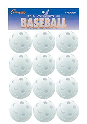 Champion Sports White Plastic Baseballs: Hollow Wiffle Balls for Sport Practice or Play - 12 Pack