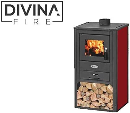 Divina fire stufa a legna 8-9kw rossa portalegna riscaldamento casa df51698