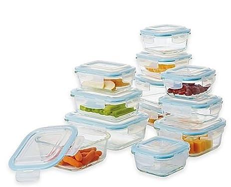 Beautiful ProGlass 24 Piece Food Storage Set With Easy Snap Lids