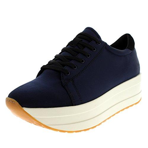 Womens Vagabond Casey Black Platform Fashion Wedge Shiny Satin Sneaker - Dark Blue - - Platform Blue Satin