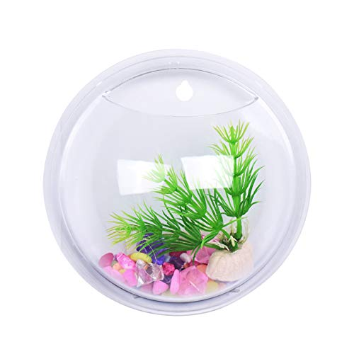 (Eyourlife Wall Fish Tank, Wall Mount Hanging Fish Bowl Aquarium Acrylic Flowerpot Home Decor Goldfish Hanger Plant (5.9in))