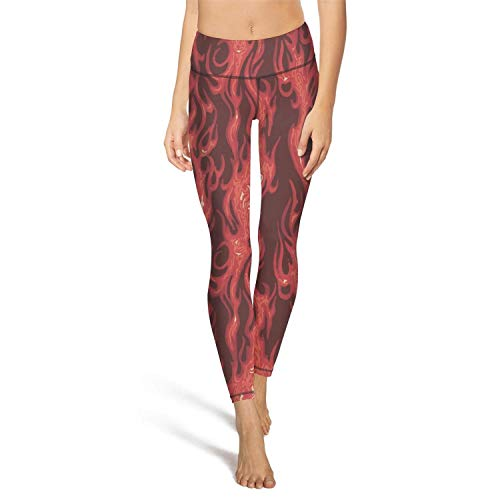 RegiDreae Women's High Waist Yoga Pants Moving on Flame Workout Running Leggings]()