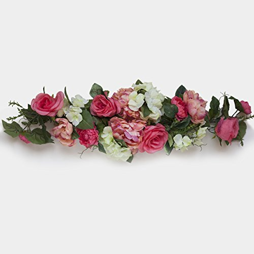 Flower swags amazon 32 coral silk rose flowers swag small wreath mightylinksfo Choice Image