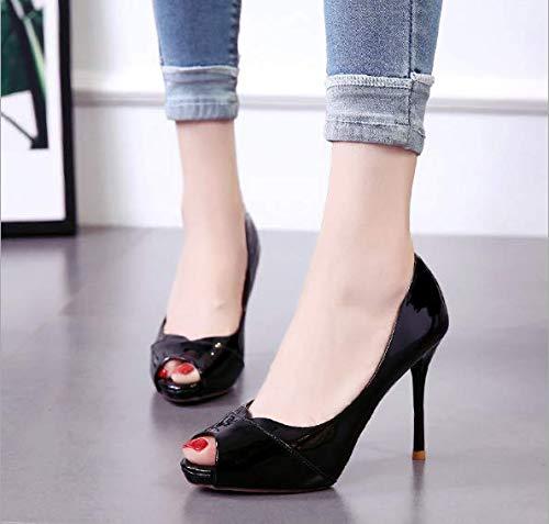 scarpe 8cm black donna trentotto pesce tacco da di sottile bocca autunno scarpe alto bocca superficiale tacco solo KOKQSX w47AEx