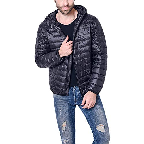 Down Jacket Mens with High Apparel Jacket Hooded Collar Coat Cotton Jacket Parka Fall Winter Schwarz