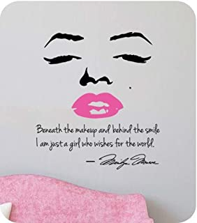 Marilyn Monroe Wall Decal Decor Quote Face PINK Lips Large Nice Sticker Part 84