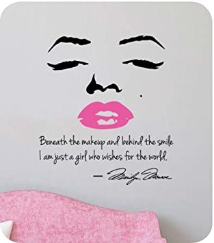 Marilyn Monroe Wall Decal Decor Quote Face PINK Lips Large Nice Sticker Part 42