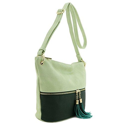 Green Light Bag Green Dark Accent Bucket Tassel Crossbody qA60v