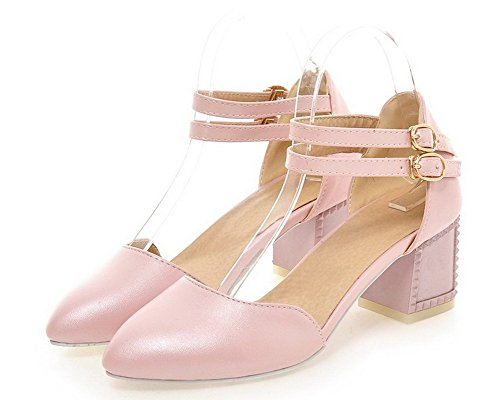 Pu Heels Solid WeiPoot Toe Closed Pink Women's Sandals Buckle Kitten ZxqwT54
