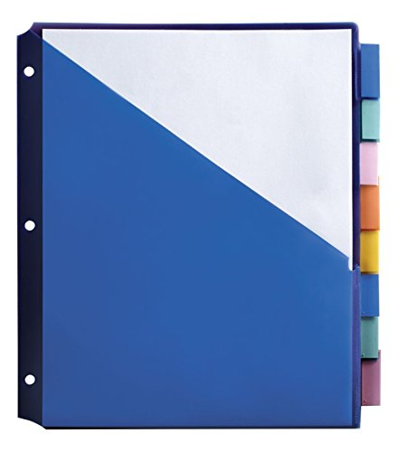 Office Depot Brand Double-Pocket Insertable Plastic Divider, 8-Tab, 9 1/2in x 11 1/4in, Assorted Colors ()