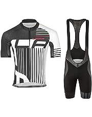 d.Stil Herren Radtrikot Set Kurzarm mit Sitzpolster für MTB Rennrad Fahrrad Jersey + Bib Shorts Radsportanzug M - 4XL